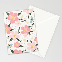 Spring Pink Cherry Blossoms Floral Stationery Cards