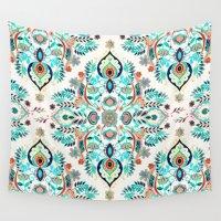 folk Wall Tapestries featuring Modern Folk in Jewel Colors by micklyn