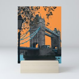 London Bridge with an Orange Sky Mini Art Print