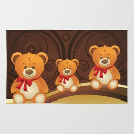Teddy bear with red bow Rug