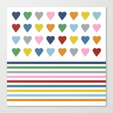 Hearts Stripes Canvas Print