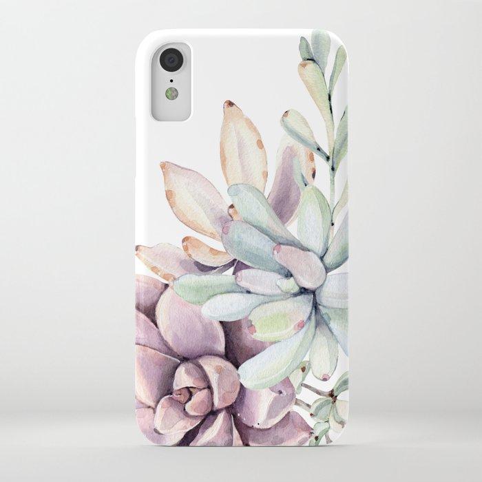 Desert Succulents on White iPhone Case