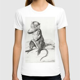 Sitting monkey eating a fruit by Jean Bernard (1775-1883) T-shirt