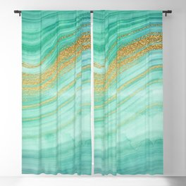 Ocean Blue And Green Mermaid Glamour Marble I Blackout Curtain