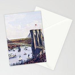 Vintage 19th Century East River Suspension Bridge - Brooklyn Bridge Lithograph Stationery Cards
