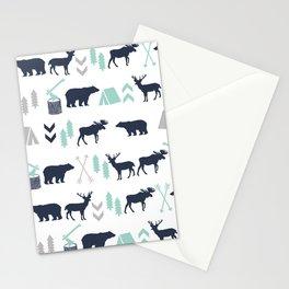 Camper pattern minimal nursery basic grey navy mint white camping cabin chalet decor Stationery Cards