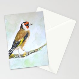 European goldfinch on tree branch Stationery Cards