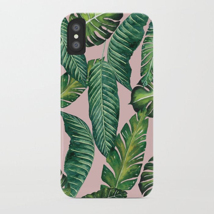 Jungle Leaves, Banana, Monstera II Pink #society6 iPhone Case