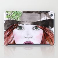 emma stone iPad Cases featuring Emma Stone by Vicky Ink.