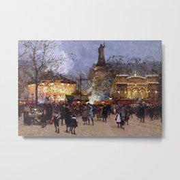 Place de la Republique, Paris, France nighttime cityscape painting by Eugene Galien Laloue Metal Print