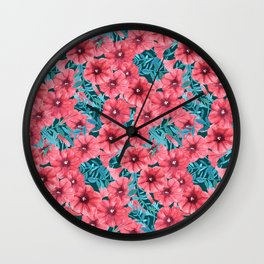 Red watercolor petunia flower pattern Wall Clock