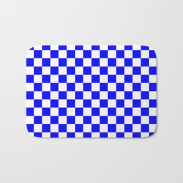 Small Checkered - White and Blue Bath Mat