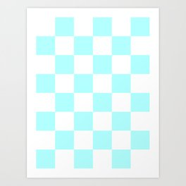 Large Checkered - White and Celeste Cyan Art Print