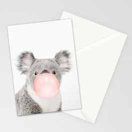 Funny koala with pink bubble gum Stationery Cards