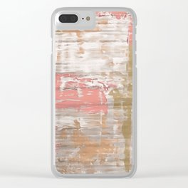 Living Coral, Camel And Gray Texture Clear iPhone Case