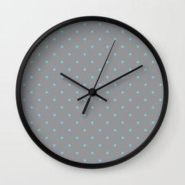 Small Aqua Polka Dots with Grey Background Wall Clock