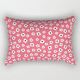 Coral White Spring Flower Pattern Rectangular Pillow