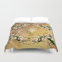 saxophone Duvet Covers featuring Saxophone with flowers by nicky2342