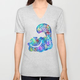 We're All Mad Here - Colorful Watercolor Unisex V-Neck