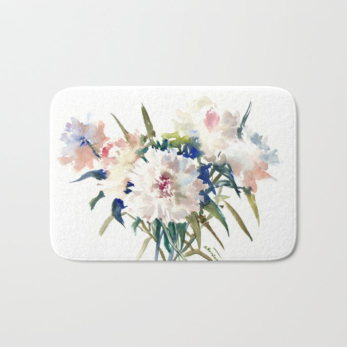 White Peonies, Asian Watercolor design Garden Peonies White lofral art Bath Mat