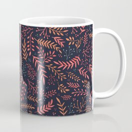 Midnight Meadow Botanical Pattern Coffee Mug