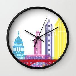 Austin skyline pop Wall Clock