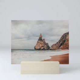Rocky tips at Praia da Ursa, Sintra, Portugal Mini Art Print