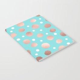 Modern Artsy Rose Gold Teal Polka Dots Notebook