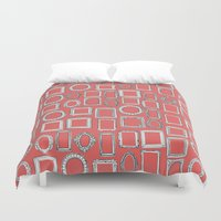 frames Duvet Covers featuring picture frames coral by Sharon Turner
