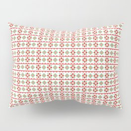 Red And Green Snowflake Christmas Pattern Pillow Sham