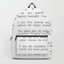 Do It Anyway by Mother Teresa 2 #minimalism #inspirational Backpack