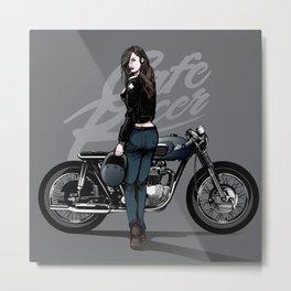 Cafe Racer Illustration Metal Print