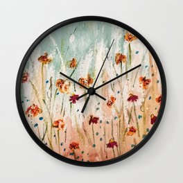 Tiger Lilies, Coneflowers, & Those Blue Things Wall Clock