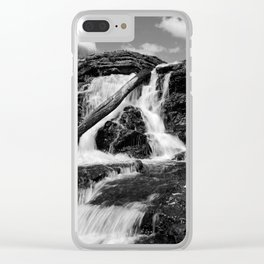 Lake MacBride State Park Waterfall (B&W) Clear iPhone Case