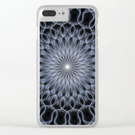 Pretty detailed blue and grey mandala Clear iPhone Case