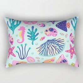 Seashells Seahorses Starfish Beach Rectangular Pillow