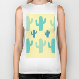 Green Cactus with Yellow Background Biker Tank