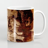 bukowski Mugs featuring Charles Bukowski - wood - quote by ARTito