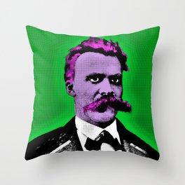 Pop Art Nietzsche in Green Background Throw Pillow
