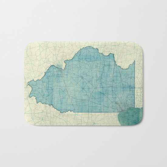Illinois State Map Blue Vintage Bath Mat