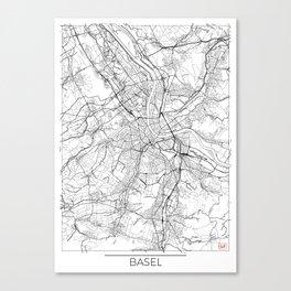 Basel Map White Canvas Print