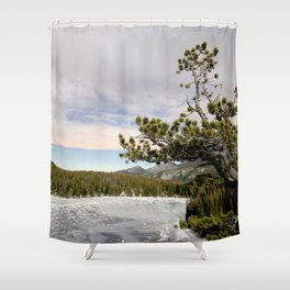 Watercolor Landscape Frozen Bear Lake, Rocky Mountain National Park, CO Shower Curtain