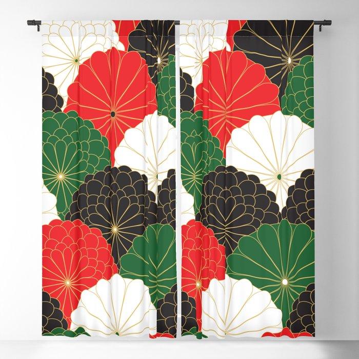 Japanese Chrysanthemum Blackout Curtain