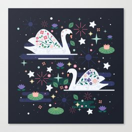 Swans on Stars Canvas Print