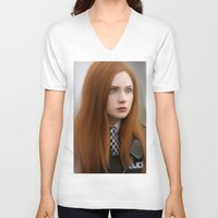 amy pond V-neck T-shirts featuring AMY POND  by Kayla Theodorou