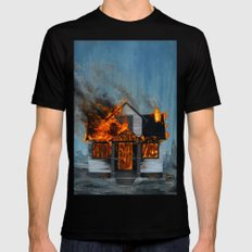 House on Fire MEDIUM Black Mens Fitted Tee