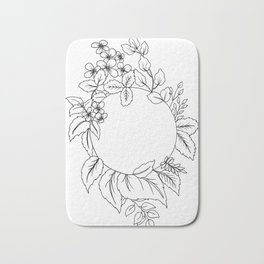 White Floral Circle Bath Mat