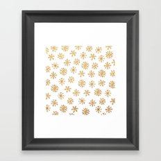 Golden Snowflakes Framed Art Print