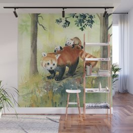 Red Panda Family Wall Mural