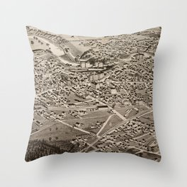 Vintage Pictorial Map of Rochester NH (1884) Throw Pillow